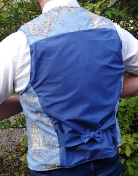 gilet réversible Hommes Fifi au jardin L'élégant bleu_détail3