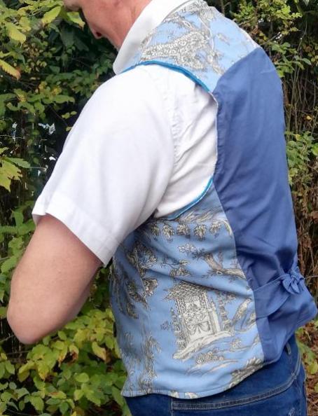 gilet réversible Hommes Fifi au jardin L'élégant bleu_détail4