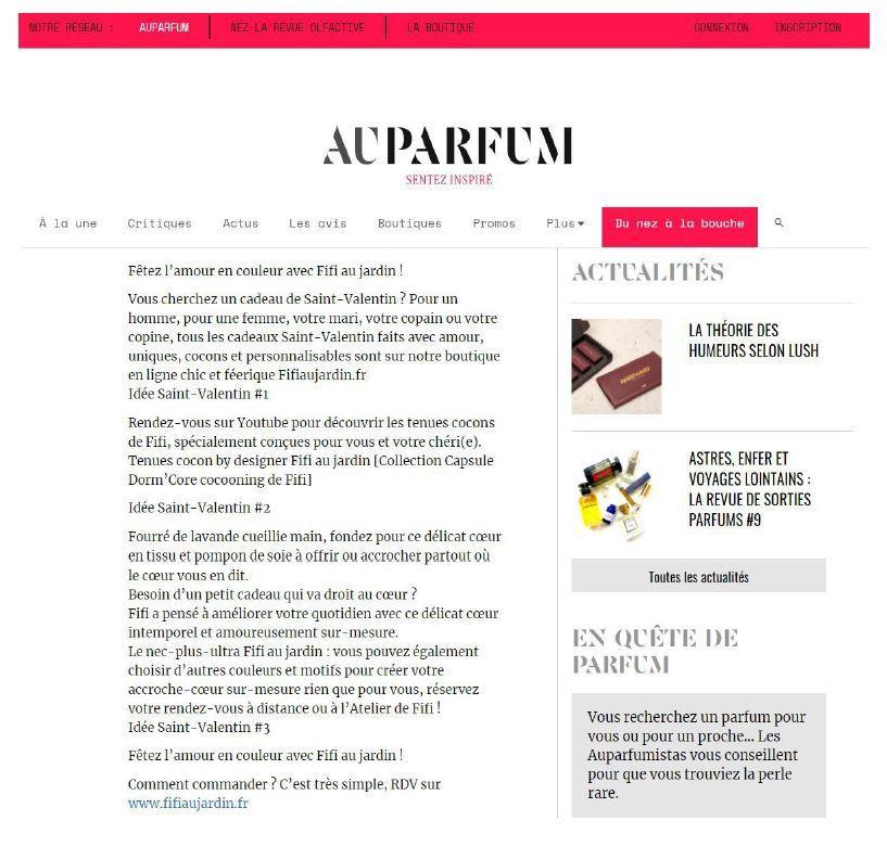 Article auparfum pour la saint valentin fifi au jardin 022021vd