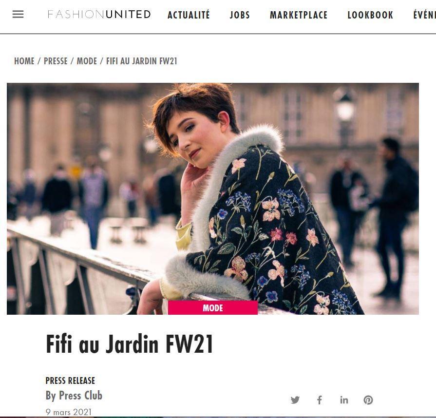 Article entete fashionunited une annee chez fifi collection inedite 2021 2022 fifi au jardin