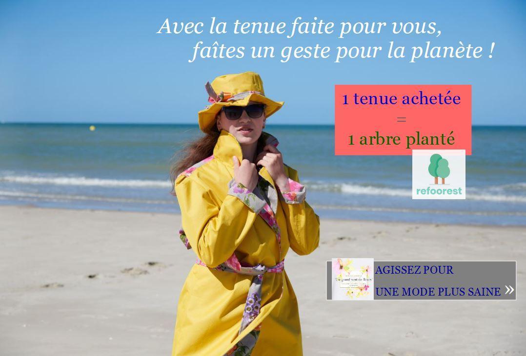 Avec la tenue faite pour vous faites un geste pour la planete plantez un arbre avec fifi au jardin pour sa collection un grand vent de fleurs