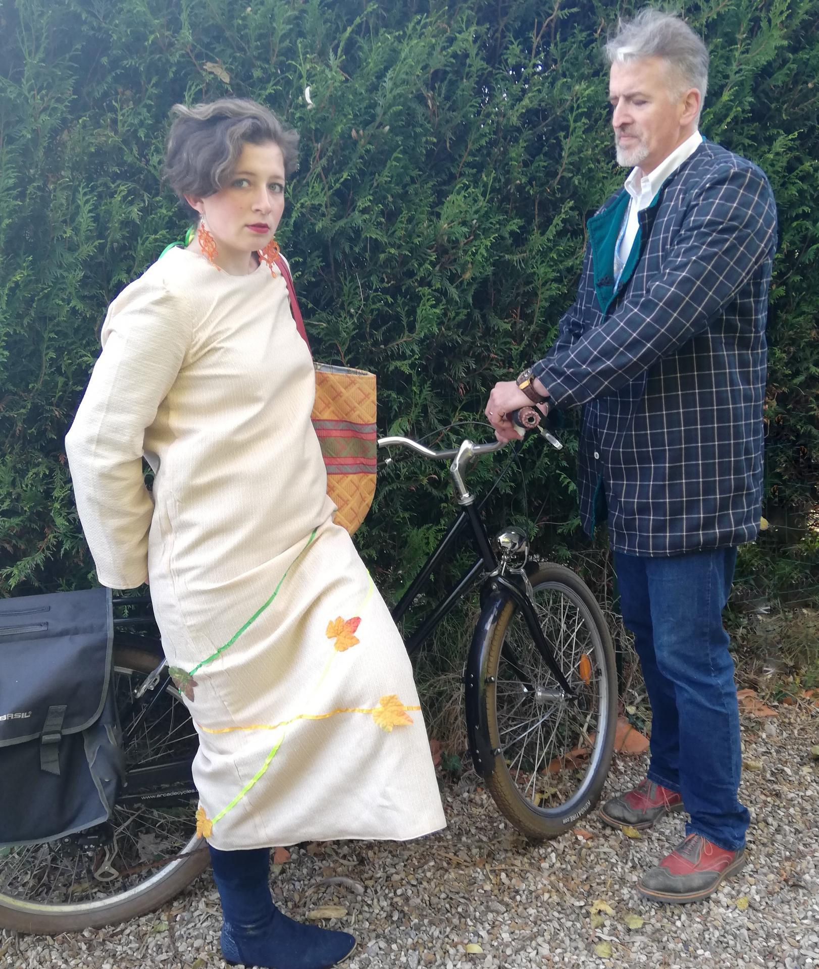 Duo robe longue reversible femme et veste homme longues manches sans col velours turquoise et tartan ouverture mi v fifi au jardin