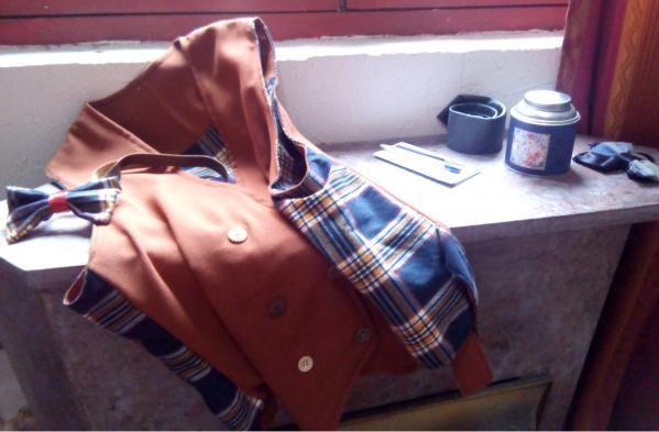 Gilet reversible hommes l elegant brun boutonnage croise noeud dos ajustable tartan coton pur fifi au jardin gamme hommes i2