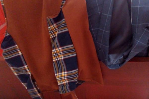 Gilet reversible hommes l elegant brun boutonnage croise noeud dos ajustable tartan coton pur fifi au jardin gamme hommes i4