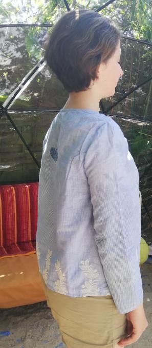 Haut recto verso bords de mer coton pur et dentelle faite main manches leger collection ete fifi au jardin gamme femmes p10