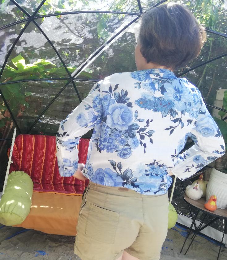 Haut recto verso bords de mer coton pur et dentelle faite main manches leger collection ete fifi au jardin gamme femmes p3