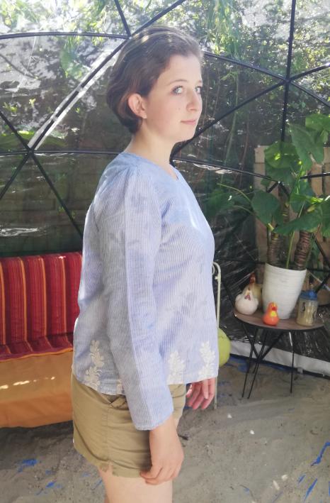 Haut recto verso bords de mer coton pur et dentelle faite main manches leger collection ete fifi au jardin gamme femmes p5