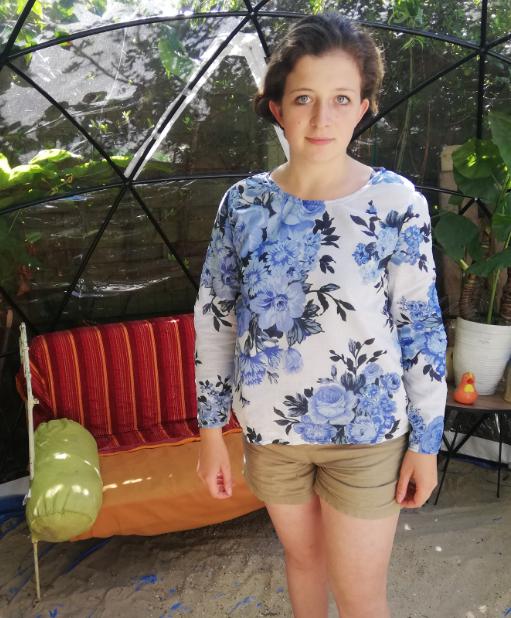 Haut recto verso bords de mer coton pur et dentelle faite main manches leger collection ete fifi au jardin gamme femmes p6