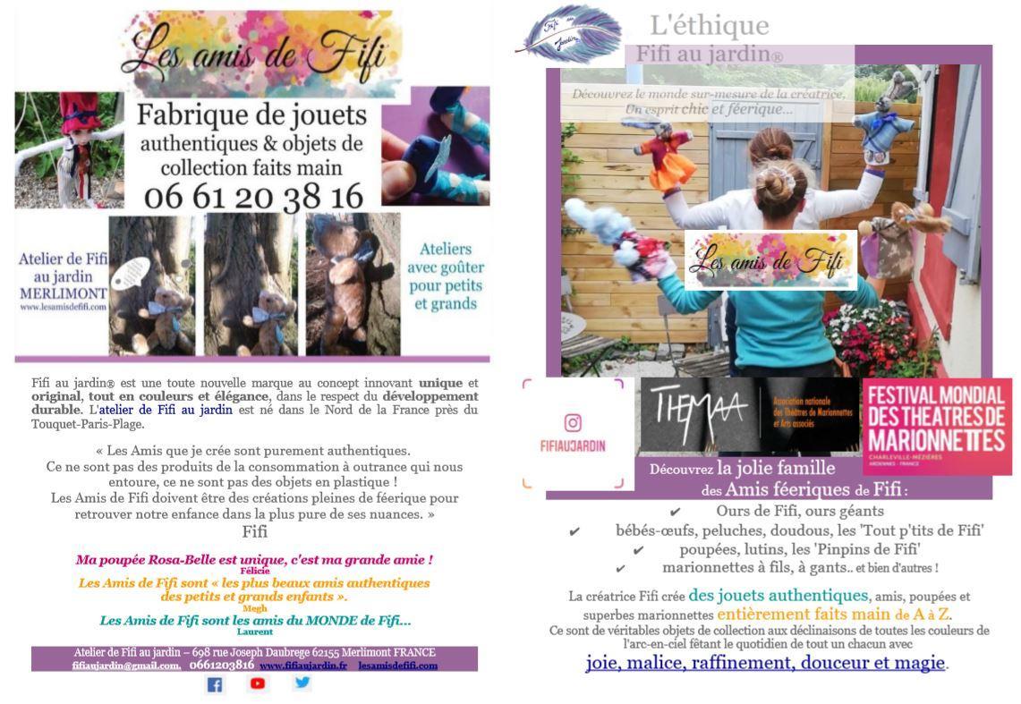 Image fr brochure les amis de fifi par fifi au jardin reservez votre atelier de fabrication de jouets authentiques