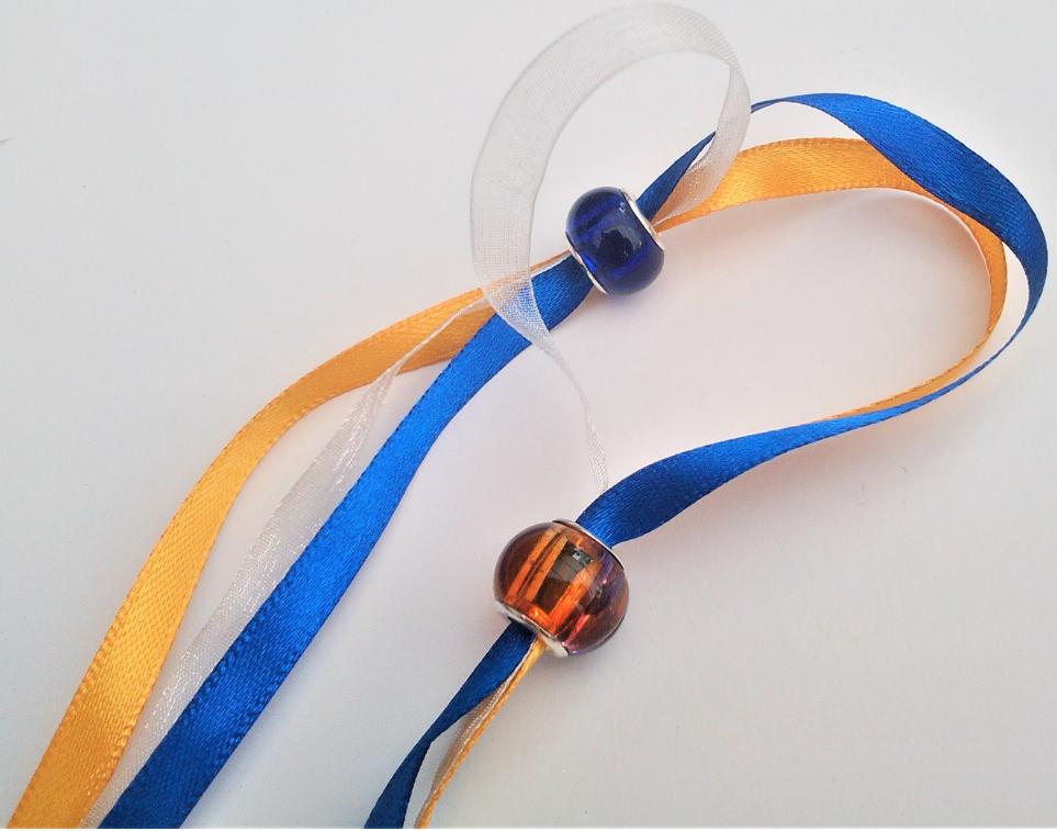 Parure bracelet double autriche fermoir argent rubans colores ecoresponsables perles de murano monture plaque argent gamme de bijouterie les precieuses fifi au jardin precious i2