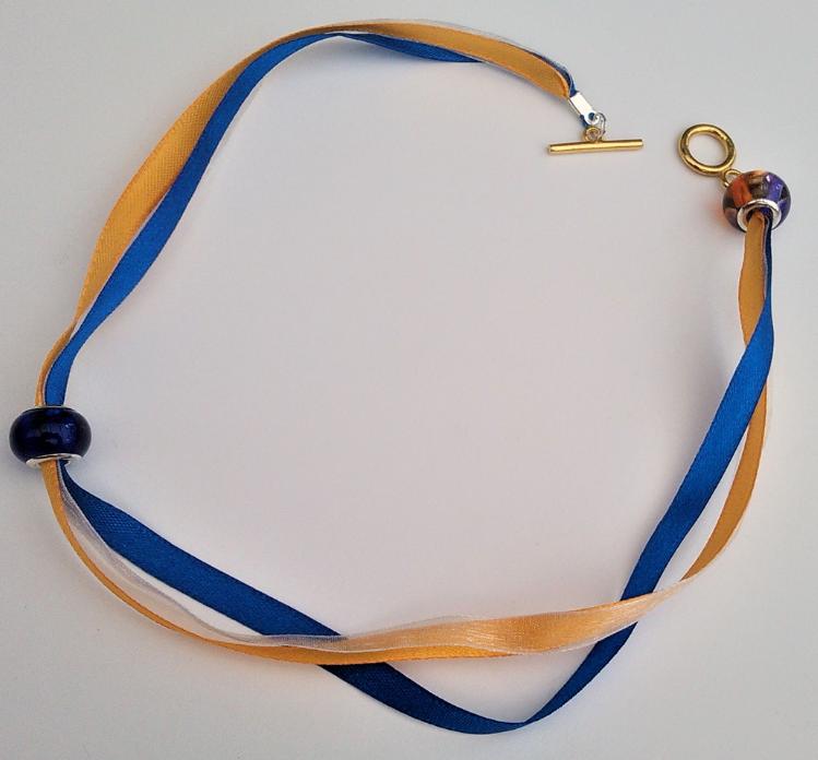 Parure bracelet double autriche fermoir argent rubans colores ecoresponsables perles de murano monture plaque argent gamme de bijouterie les precieuses fifi au jardin precious