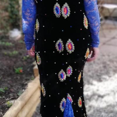Robe de soiree reversible longue velours brode et dentelle motifs de couleurs fifi au jardin gamme femmes i9