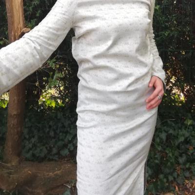 Robe droite longue reversible bleu de paillettes fifi au jardin pose 5