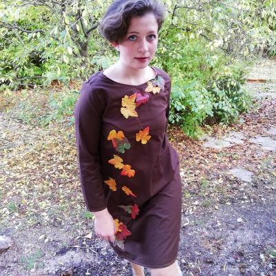 Robe trapeze reversible coton feuilles cousues et liberty manches longues