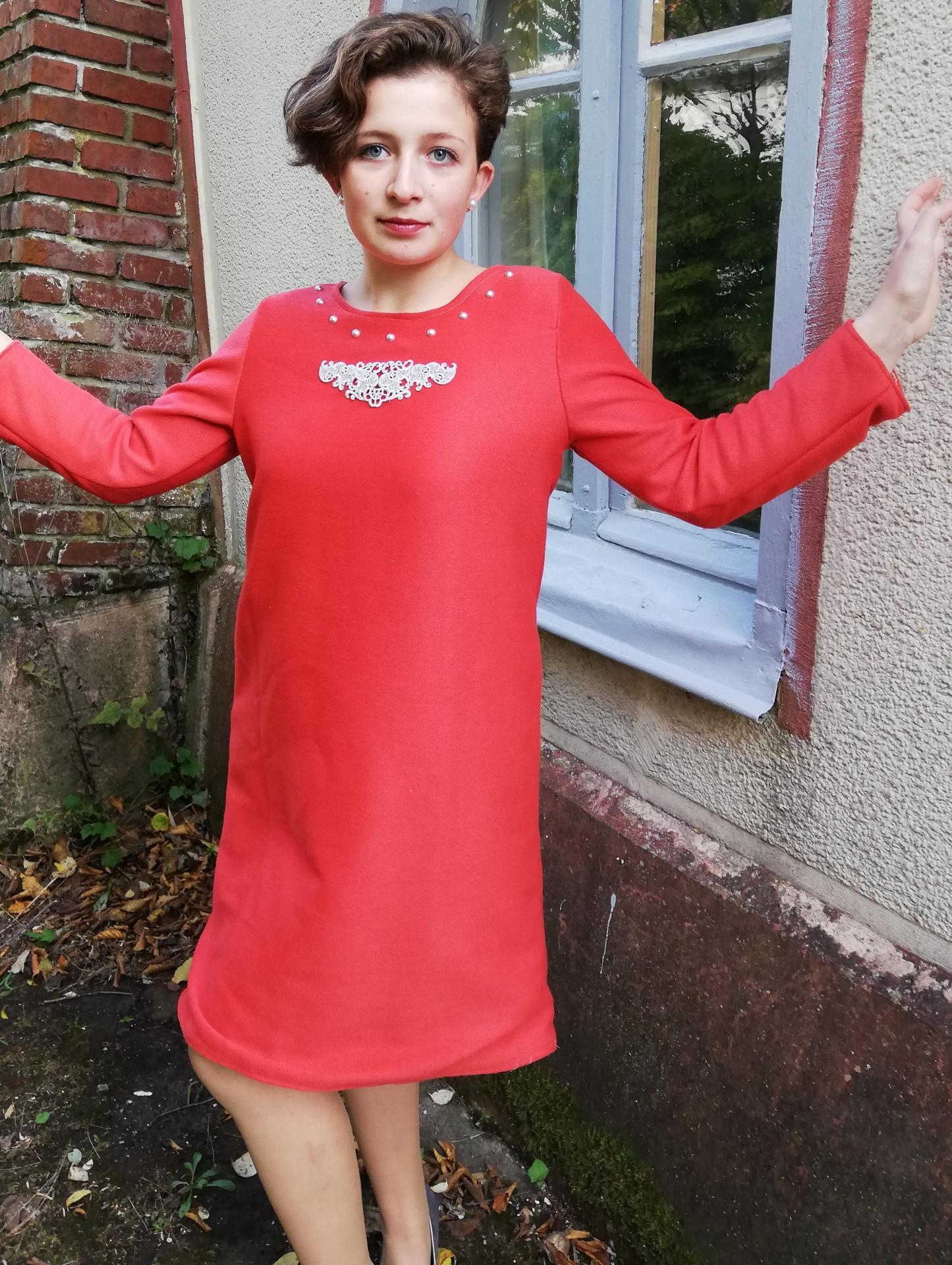 Robe trapeze reversible coton roux saumon buste ouvert motif dentelle et liberty manches longues