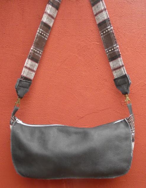 Sac reversible l elegant cuir veritable gris et rayures blanc gris rose fifi au jardin daily gamme maroquinerie i5