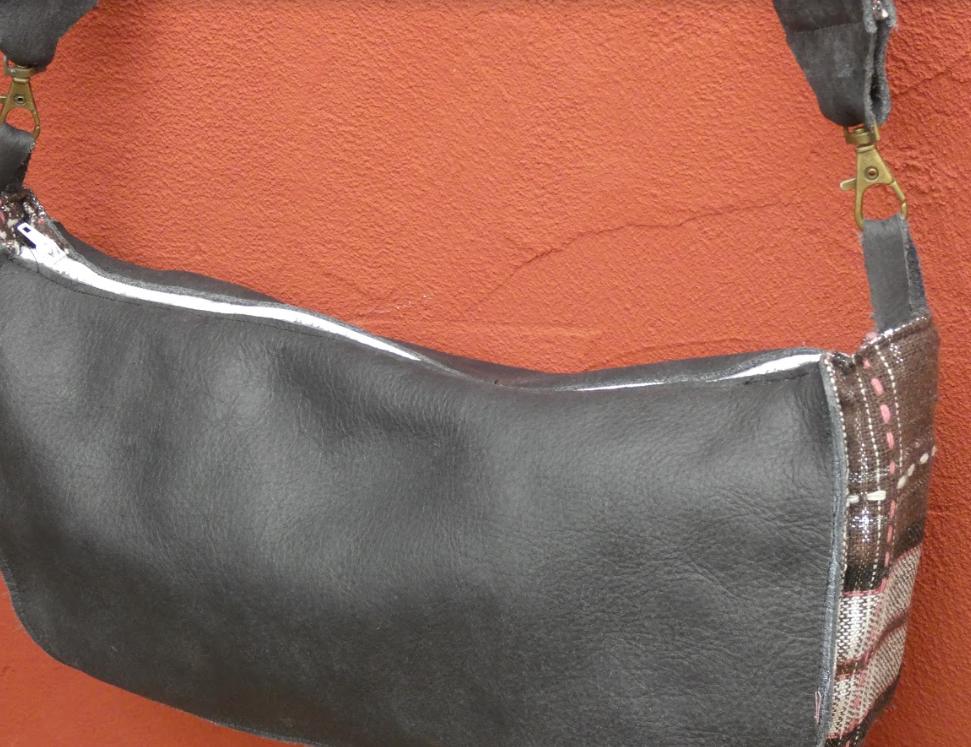 Sac reversible l elegant cuir veritable gris et rayures blanc gris rose fifi au jardin daily gamme maroquinerie i6 1