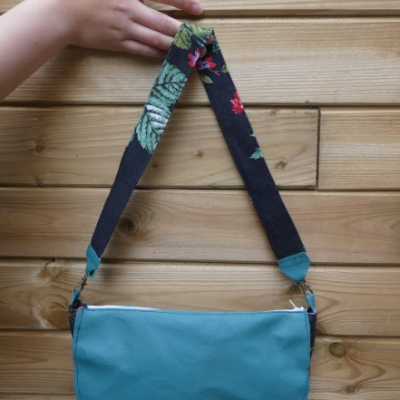 Sac reversible l elegant cuir veritable turquoise babouchka fifi au jardin daily gamme maroquinerie