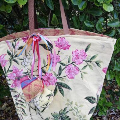Sac reversible le pratique lignes et feuilles fifi au jardin verso