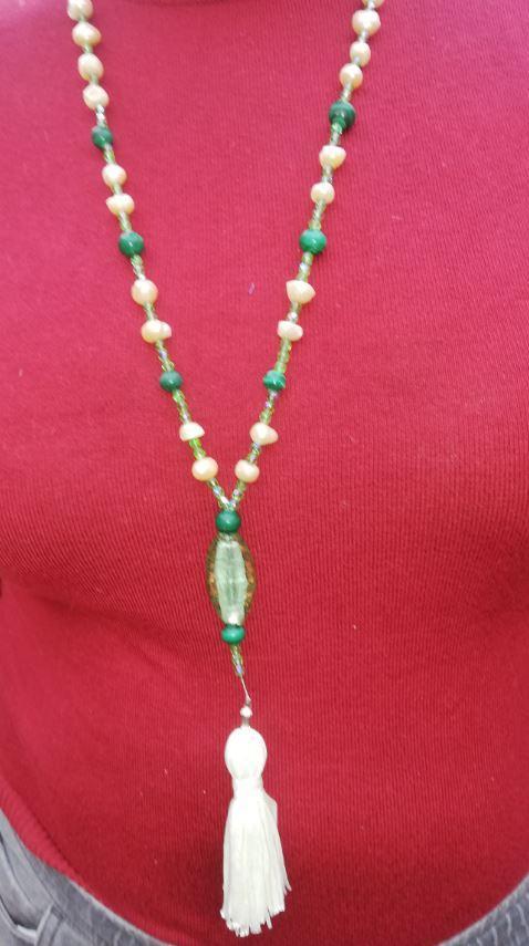Sautoir emeraude nouvelle collection perles de culture et pierres precieuses fifi au jardin i