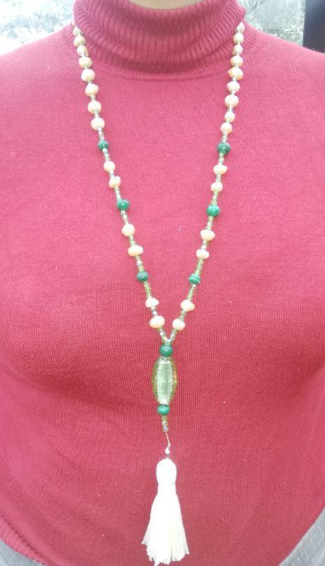 Sautoir emeraude nouvelle collection perles de culture et pierres precieuses fifi au jardin
