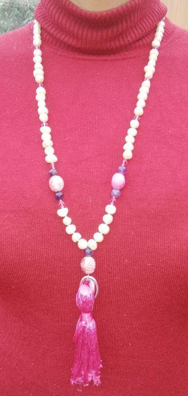 Sautoir un grand vent de couleurs nouvelle collection perles de culture et pierres precieuses fifi au jardin