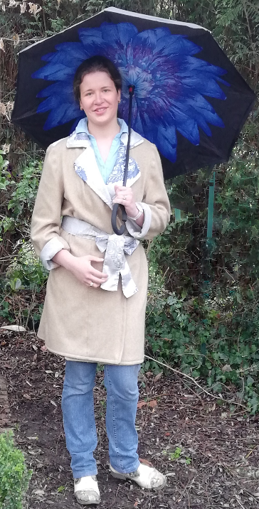 Trench reversible beige bleu gris fifi au jardin