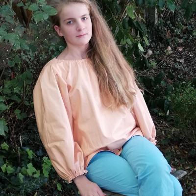Tunique reversible jeune fille en fleur premiere saumon 12 14 ans fifi au jardin